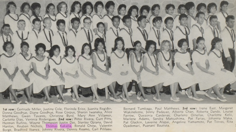 Uncle Jr 1964 Class Photo Waianae High School